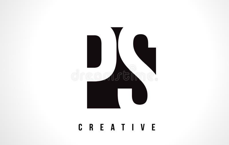Lettre blanche Logo Design de la picoseconde P S avec la place noire illustration de vecteur