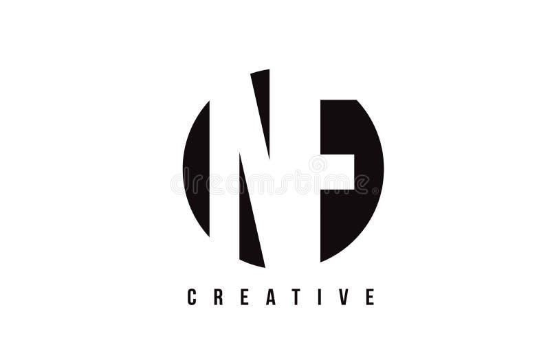 Lettre blanche Logo Design de N-F N-F avec le fond de cercle illustration de vecteur