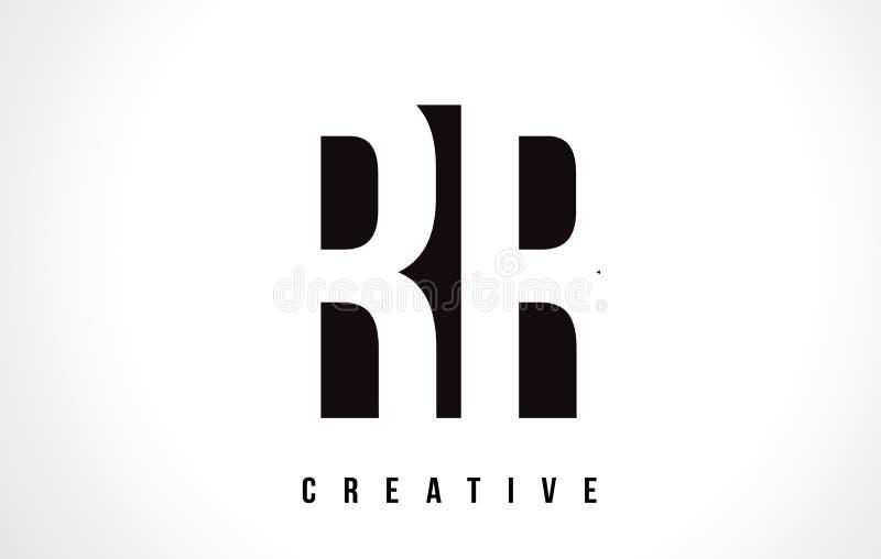 Lettre blanche Logo Design de rr R avec la place noire illustration stock
