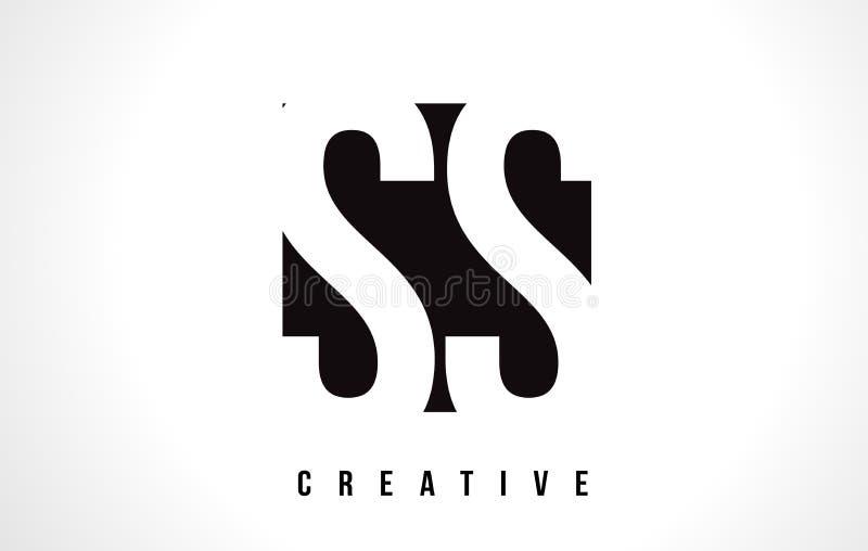 Lettre blanche Logo Design de solides solubles S S avec la place noire illustration libre de droits