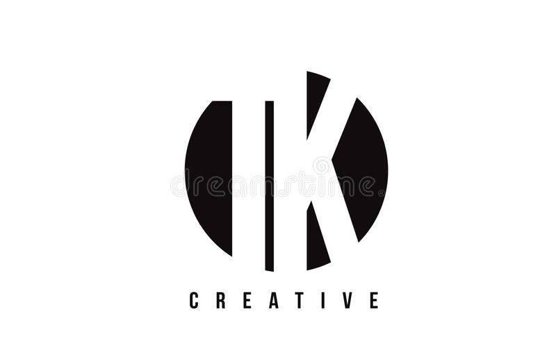 Lettre blanche Logo Design de TK T K avec le fond de cercle illustration stock