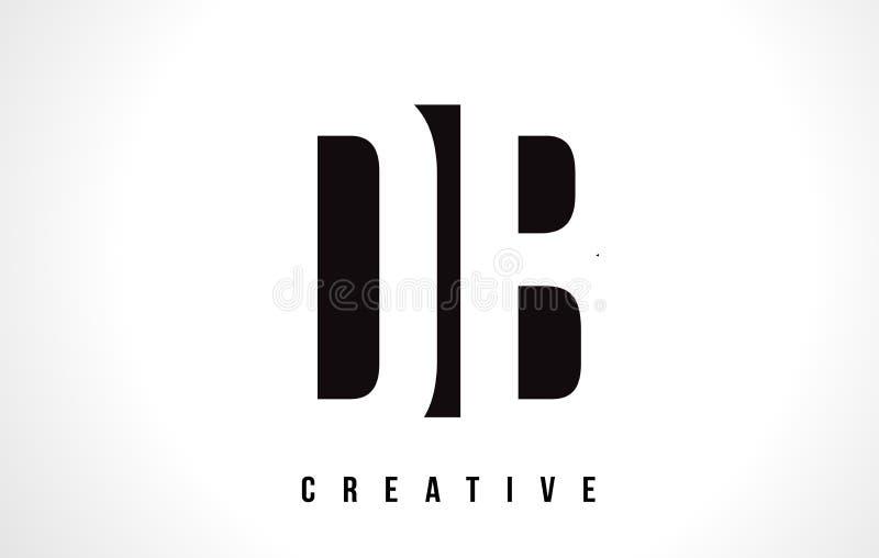 Lettre blanche Logo Design du DB D B avec la place noire illustration libre de droits