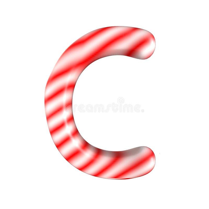 Lettre blanche rouge C de sucrerie d'isolement sur le fond blanc photos stock