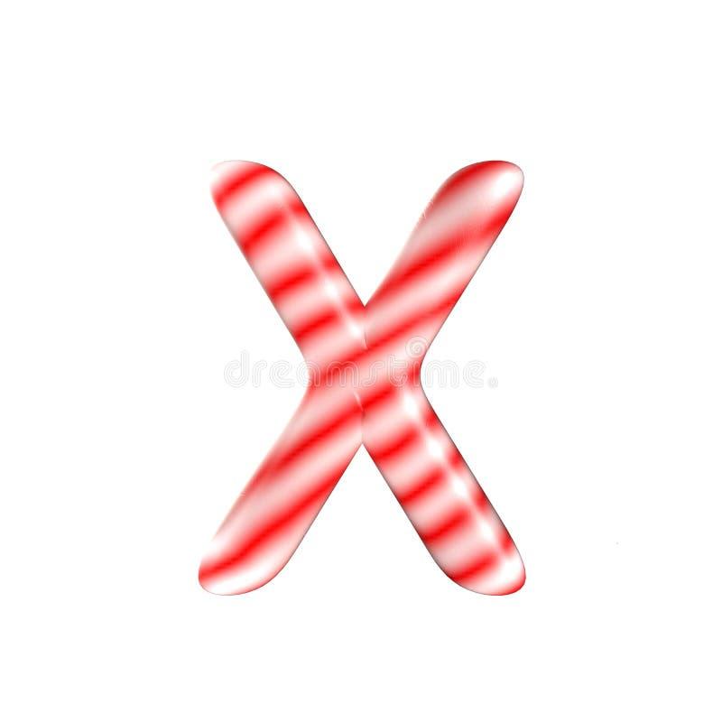 Lettre blanche rouge X de sucrerie d'isolement sur le fond blanc photo libre de droits