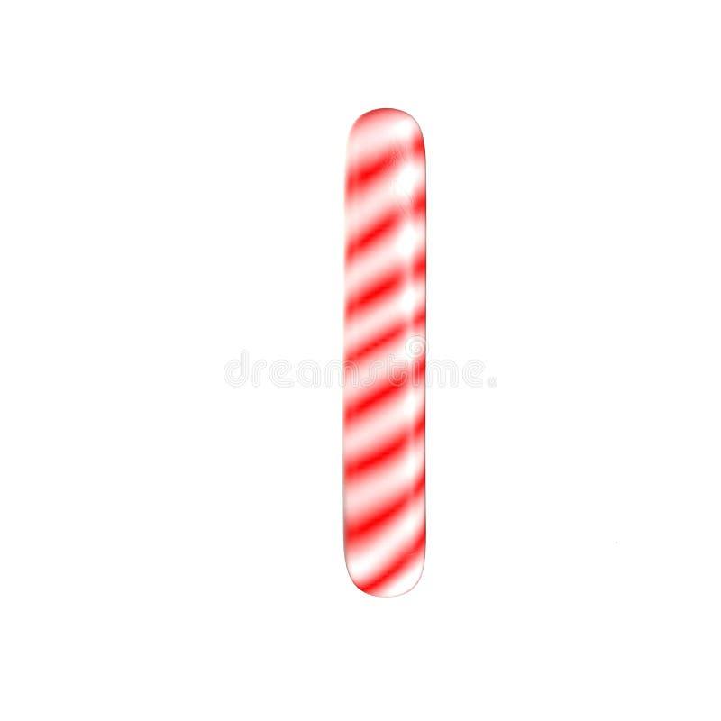 Lettre blanche rouge de sucrerie que j'ai isolée sur le fond blanc photos stock