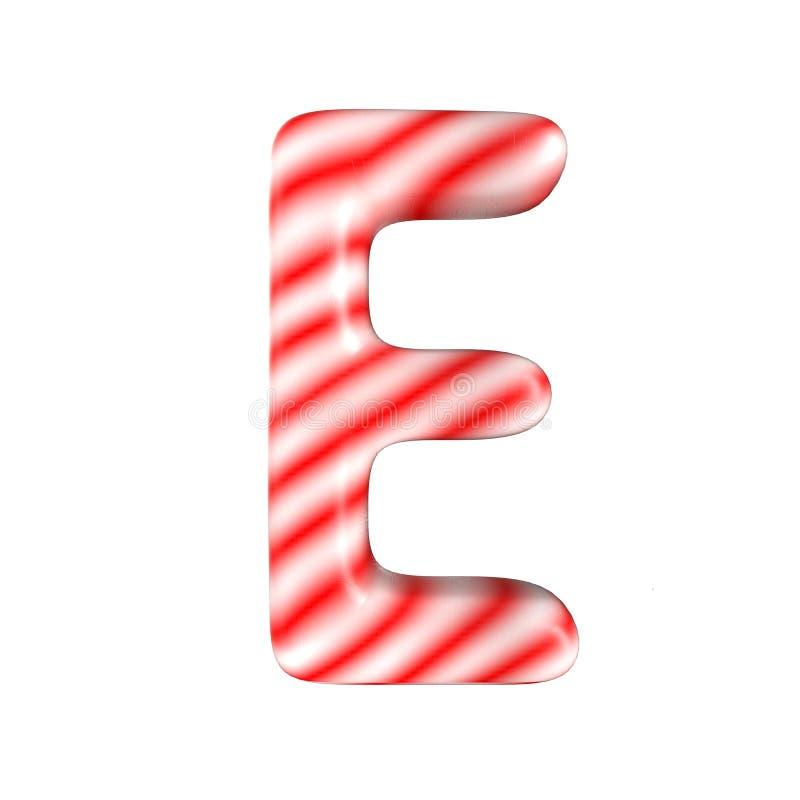 Lettre blanche rouge E de sucrerie d'isolement sur le fond blanc images stock