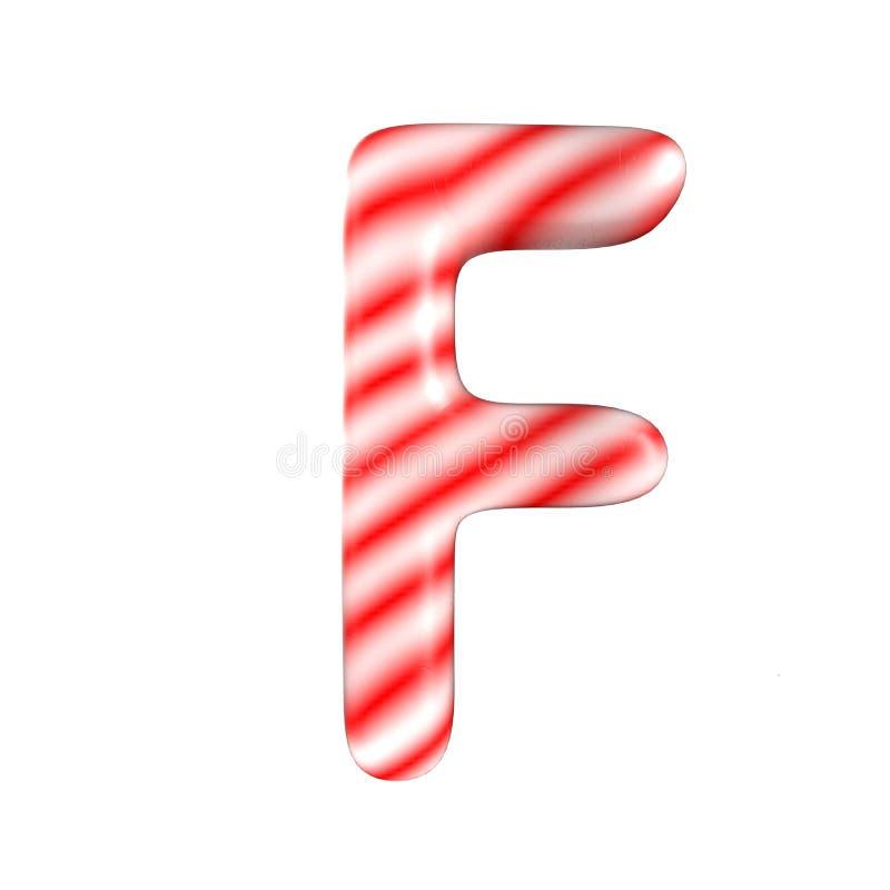 Lettre blanche rouge F de sucrerie d'isolement sur le fond blanc photo libre de droits
