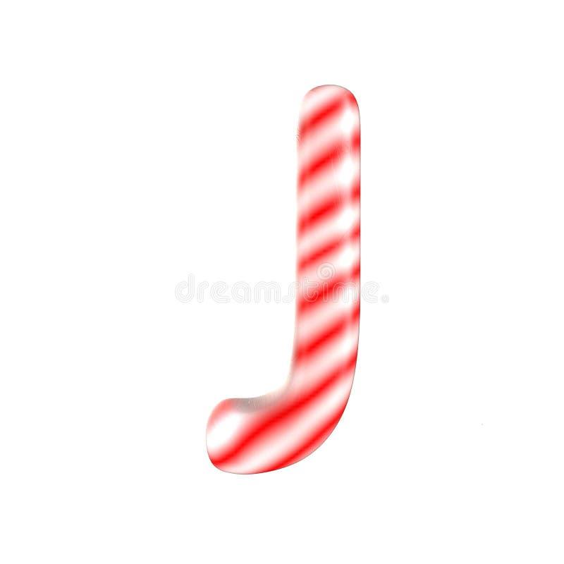 Lettre blanche rouge J de sucrerie d'isolement sur le fond blanc photographie stock libre de droits