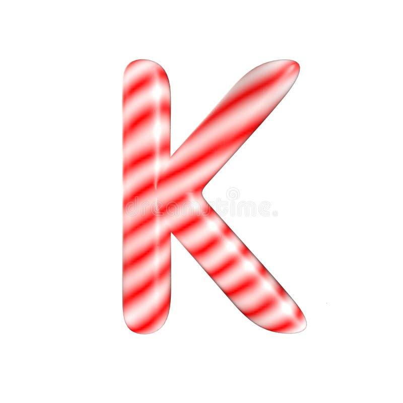 Lettre blanche rouge K de sucrerie d'isolement sur le fond blanc photos libres de droits