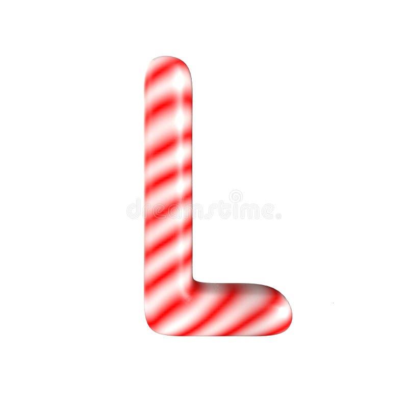 Lettre blanche rouge L de sucrerie d'isolement sur le fond blanc photographie stock libre de droits