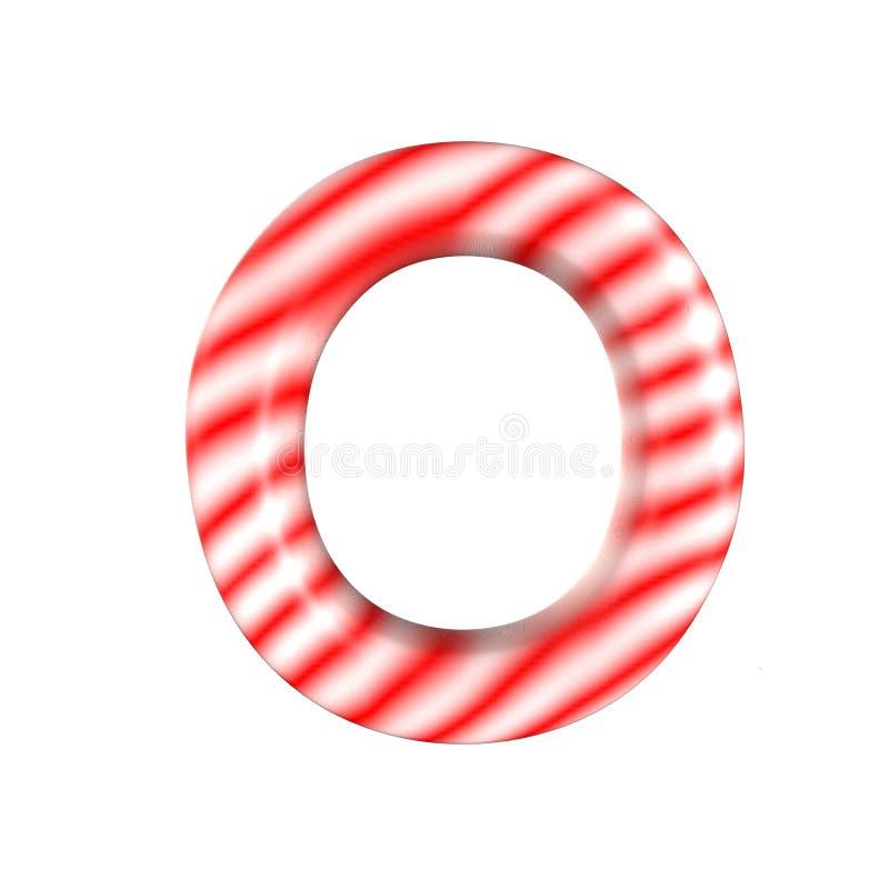Lettre blanche rouge O de sucrerie d'isolement sur le fond blanc photographie stock libre de droits