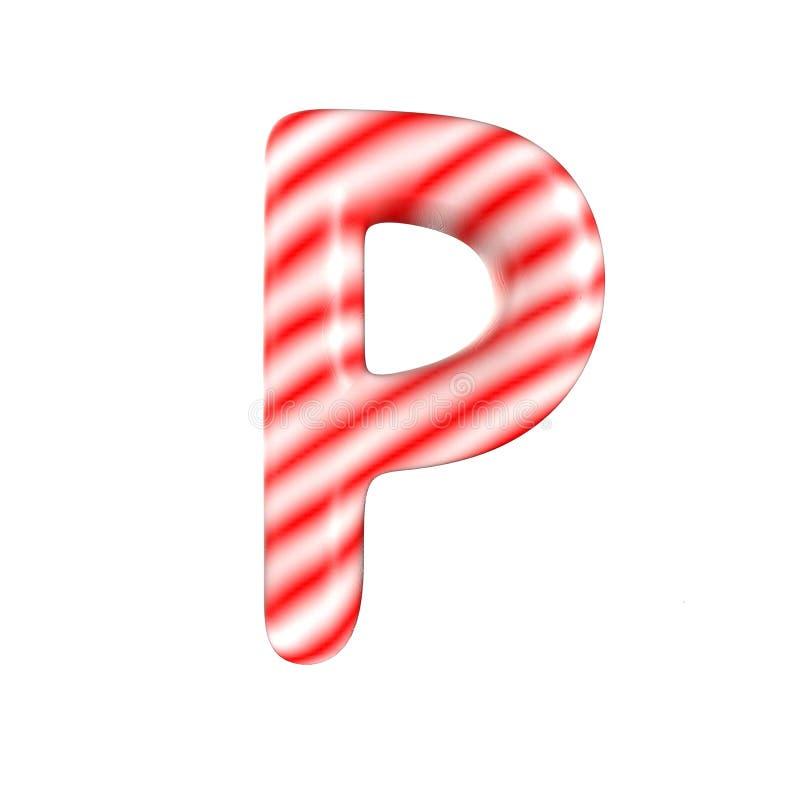 Lettre blanche rouge P de sucrerie d'isolement sur le fond blanc photo libre de droits