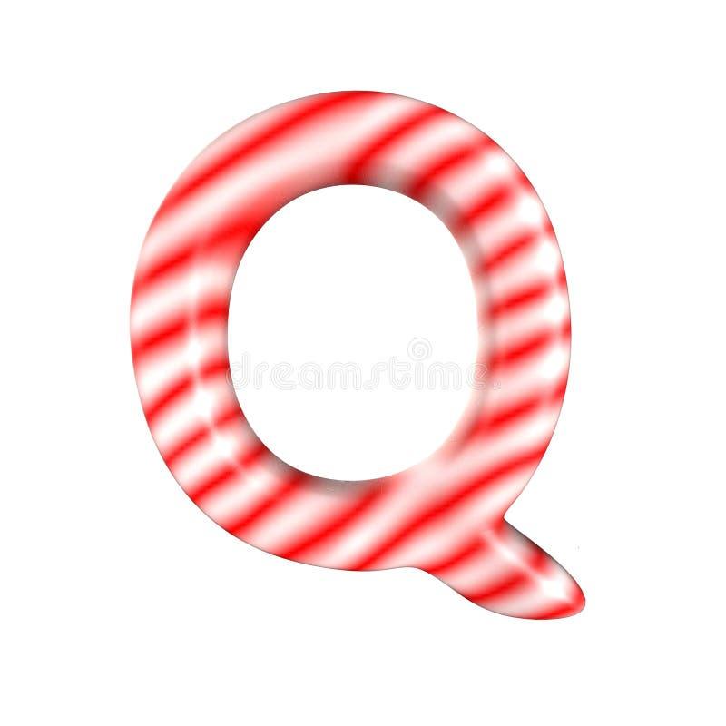 Lettre blanche rouge Q de sucrerie d'isolement sur le fond blanc photo stock