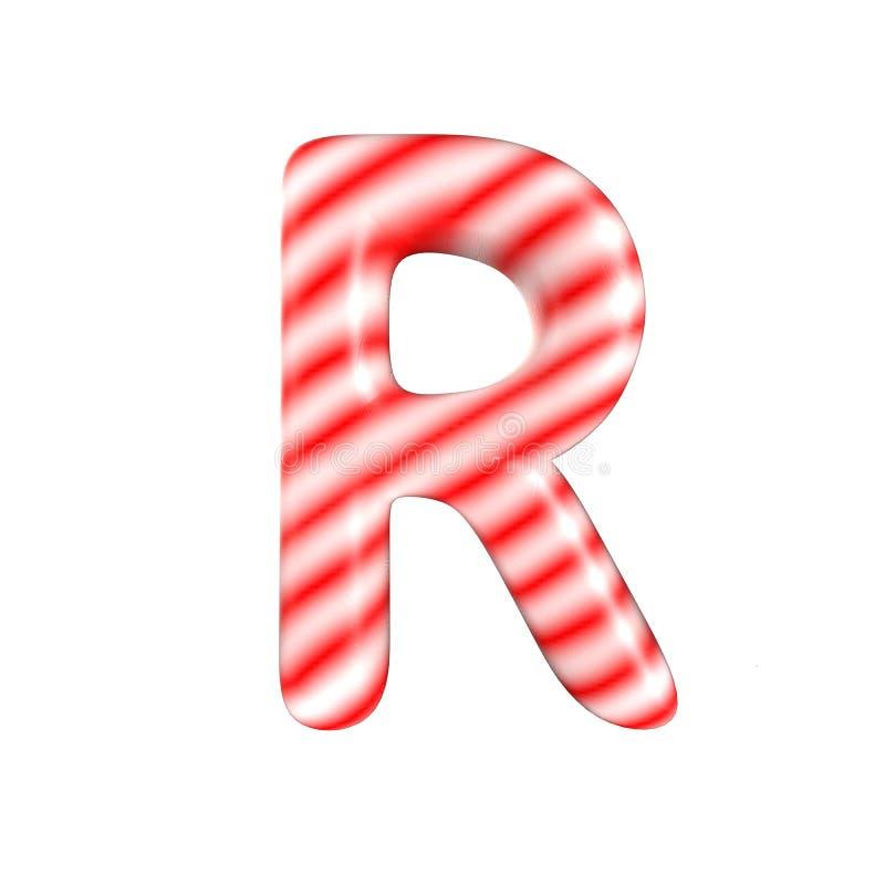 Lettre blanche rouge R de sucrerie d'isolement sur le fond blanc photographie stock libre de droits