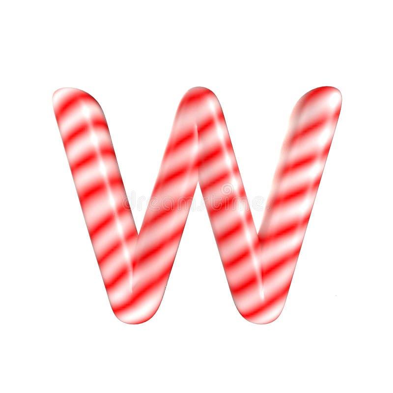 Lettre blanche rouge W de sucrerie d'isolement sur le fond blanc images libres de droits