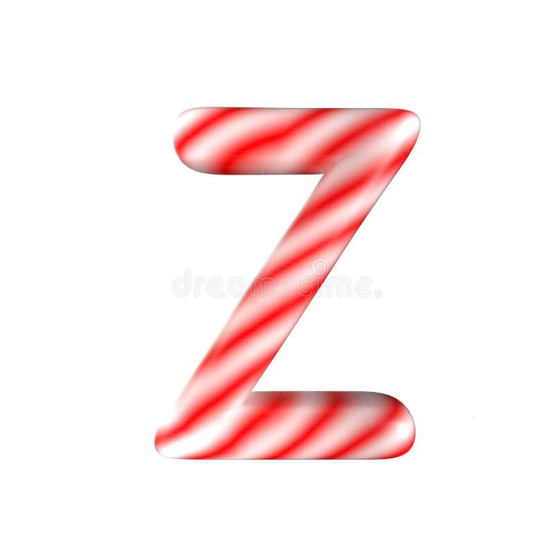 Lettre blanche rouge Z de sucrerie d'isolement sur le fond blanc image stock