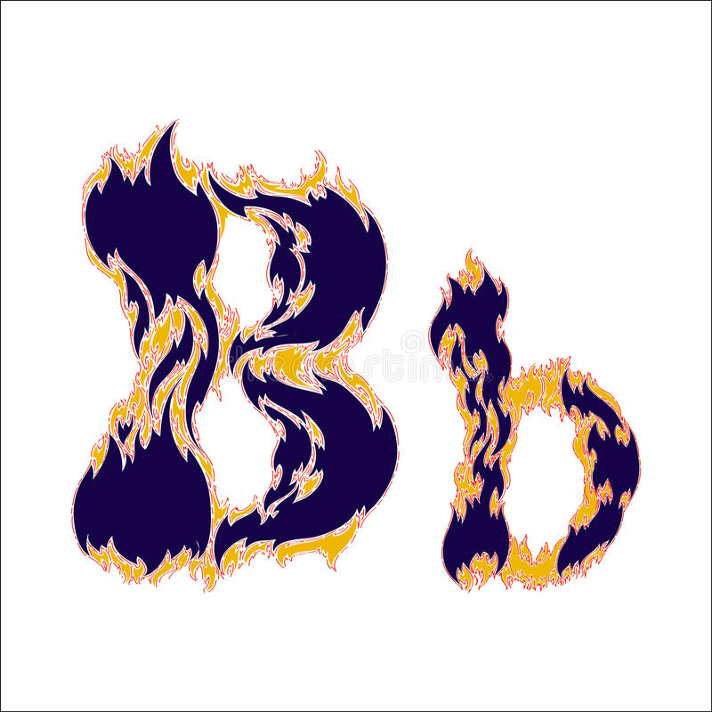 Lettre bleue B de police ardente sur un fond blanc illustration libre de droits