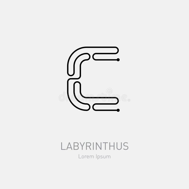 Lettre C Calibre de logo de vecteur de labyrinthe Rébus de schéma, concep illustration stock