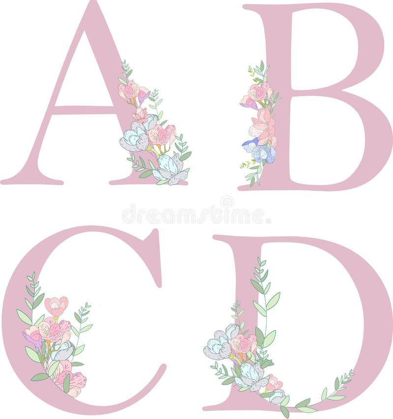Lettre C d'alphabet de fleur illustration stock