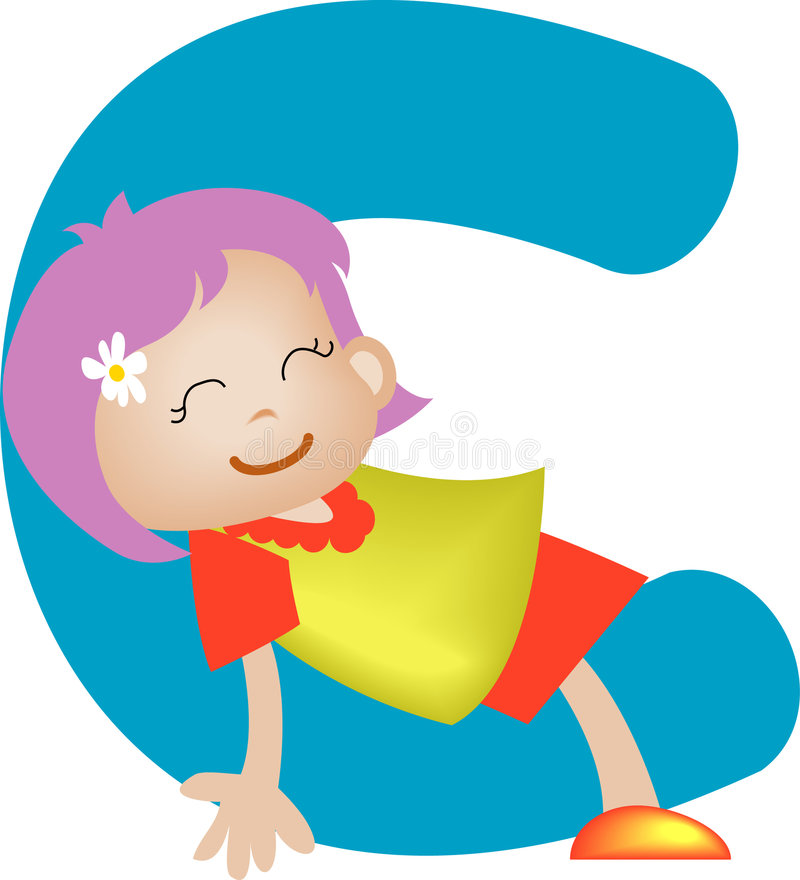 Lettre C (fille) d'alphabet illustration stock