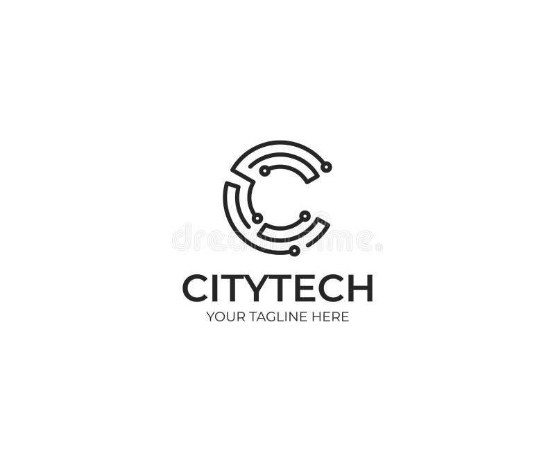 Lettre C Logo Template de technologie Conception de vecteur de technologie de l'information illustration stock