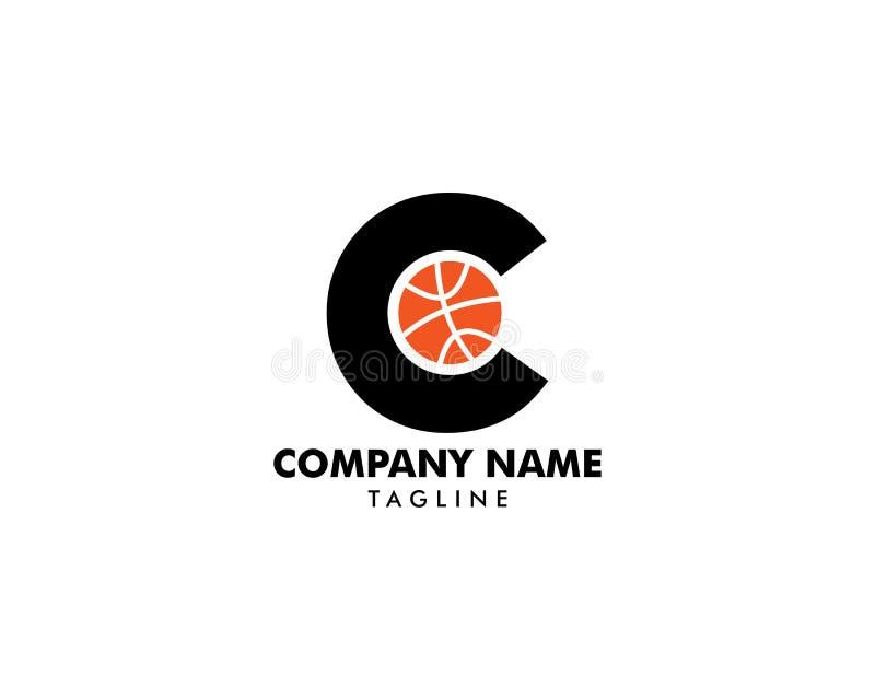 Lettre C pour le basket-ball Logo Template illustration stock