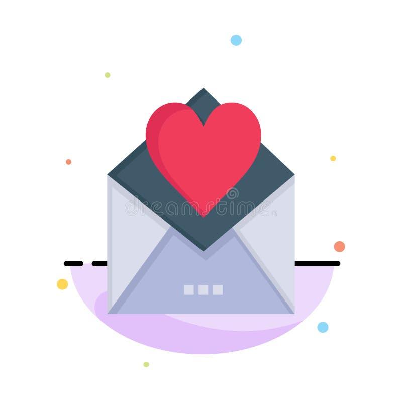 Lettre, courrier, carte, lettre d'amour, calibre plat d'icône de couleur d'abrégé sur amour illustration stock