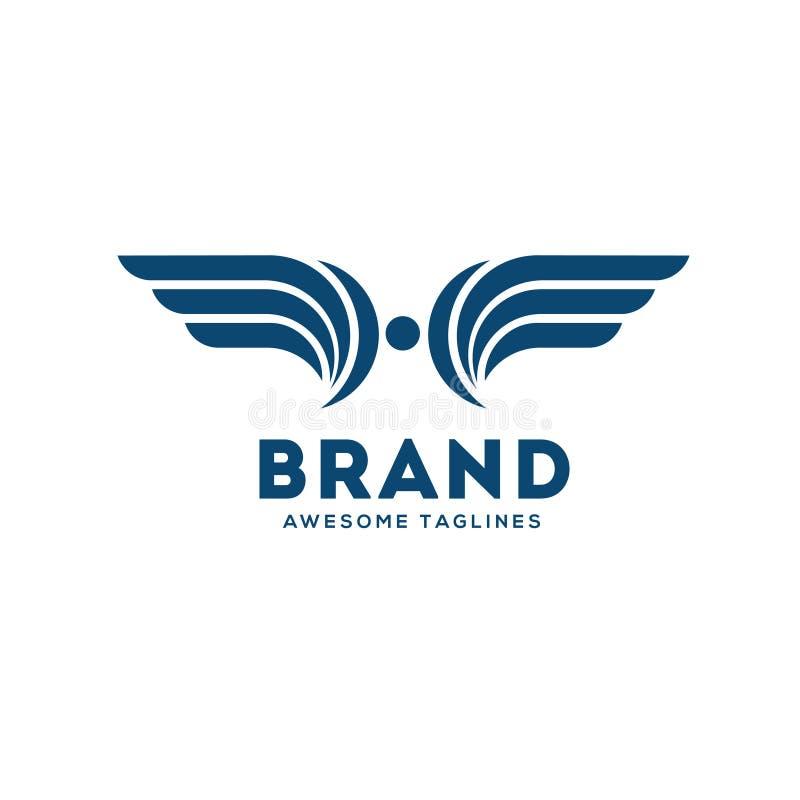 Lettre créative H avec l'élément de conception d'ailes illustration stock