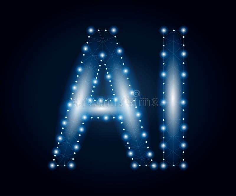 Lettre d'AI, polygone, bleu 3 illustration libre de droits