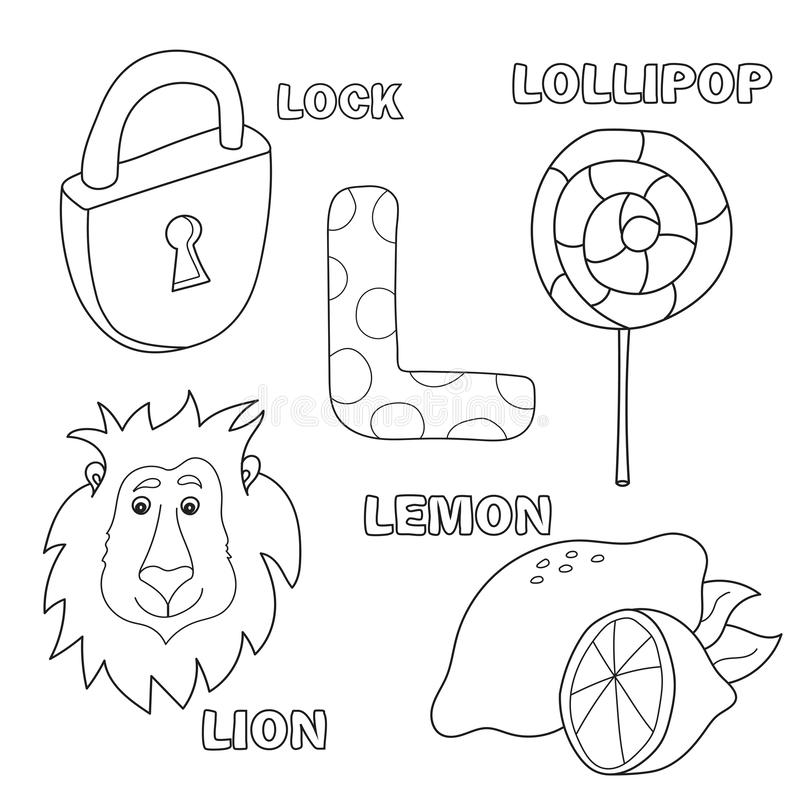 Lettre d'alphabet avec les lettres L d'alphabet Images de la lettre - livre de coloriage illustration libre de droits