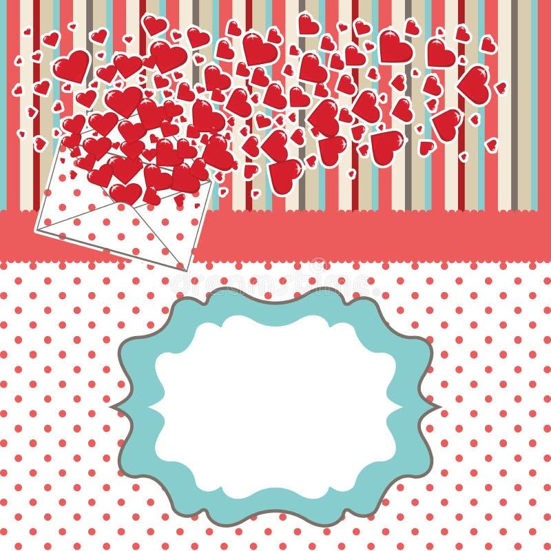 Lettre d'amour avec des valentines de coeurs. DES de valentines illustration stock