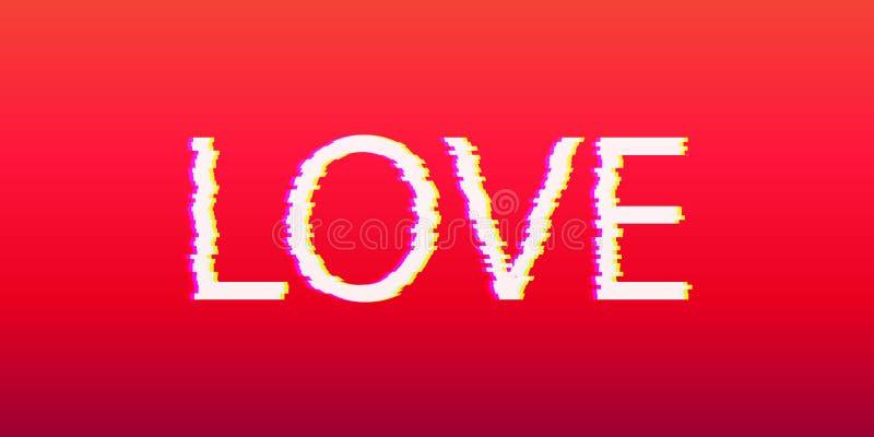 Lettre d'amour lumineuse avec l'effet de problème Calibre pour la conception illustration libre de droits