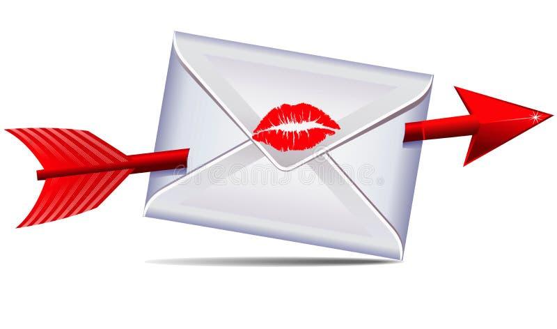 Lettre d'amour scellée avec un baiser illustration de vecteur
