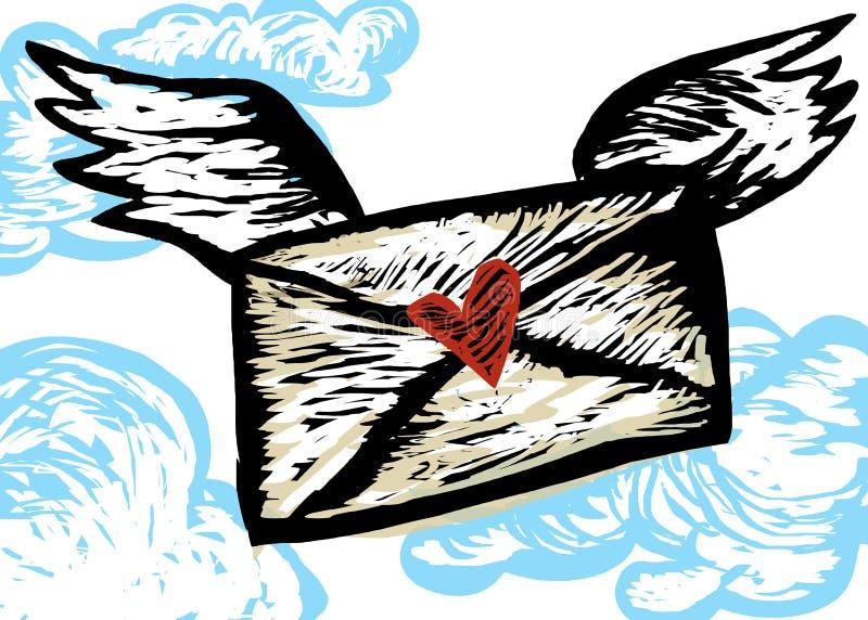 Lettre d'amour sur des ailes illustration libre de droits