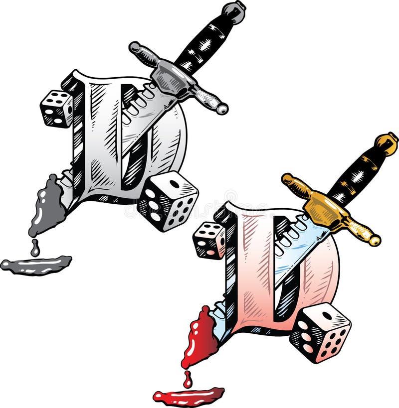 lettre d de type de tatouage illustration de vecteur image 6810078. Black Bedroom Furniture Sets. Home Design Ideas