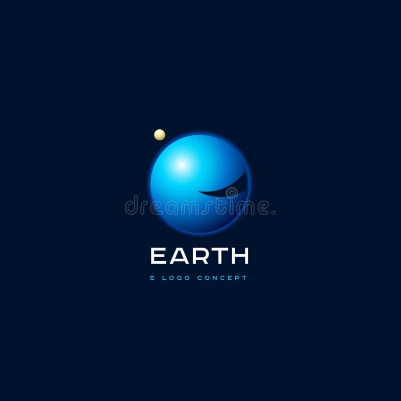 Lettre d'E Monogramme d'E La terre avec l'emblème de planète de l'atmosphère illustration libre de droits