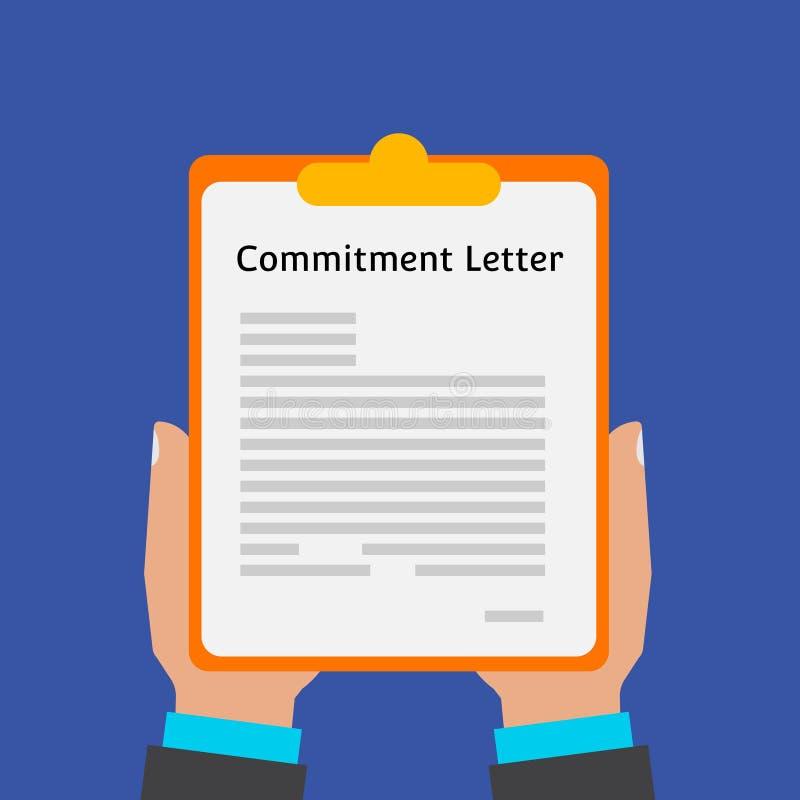 Lettre d'engagement La situation décrite de la coopération Coopération sur des affaires sur l'assistance mutuelle Vecteur plat illustration de vecteur