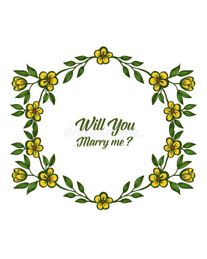 Lettre d'illustration de vecteur vous m'?pouserez avec le cadre jaune de fleur de style illustration de vecteur