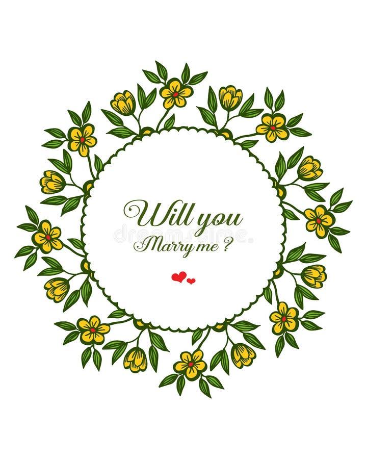 Lettre d'illustration de vecteur vous m'?pouserez avec le cadre jaune de fleur de style illustration libre de droits