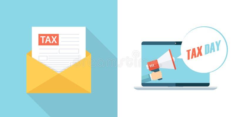 Lettre d'impôts, email, sms ou message et bulle de la parole de jour d'impôts avec le mégaphone de participation de main sortant  illustration libre de droits