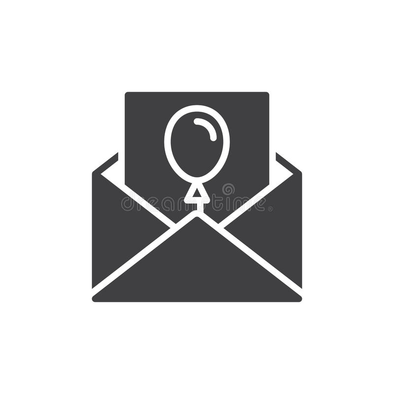 Lettre d'invitation pour le vecteur d'icône d'événement, signe plat rempli, pictogramme solide d'isolement sur le blanc illustration de vecteur