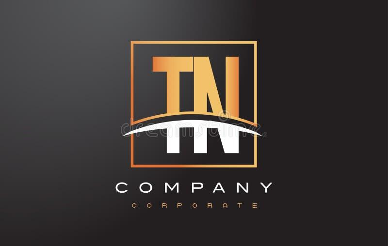 Lettre d'or Logo Design de TN T N avec la place et le bruissement d'or illustration stock