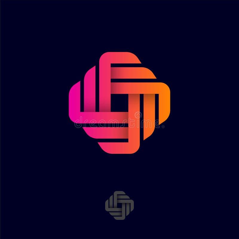 Lettre d'O Logo d'origami Monogramme du gradient S des rubans ou des bandes de papier illustration stock