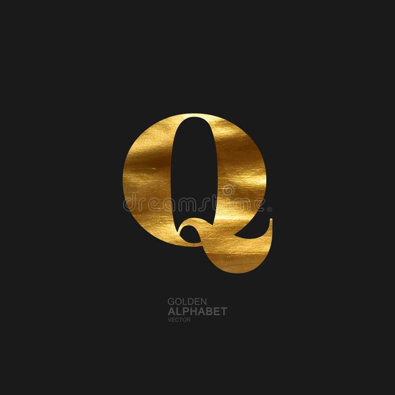 Lettre d'or Q illustration stock