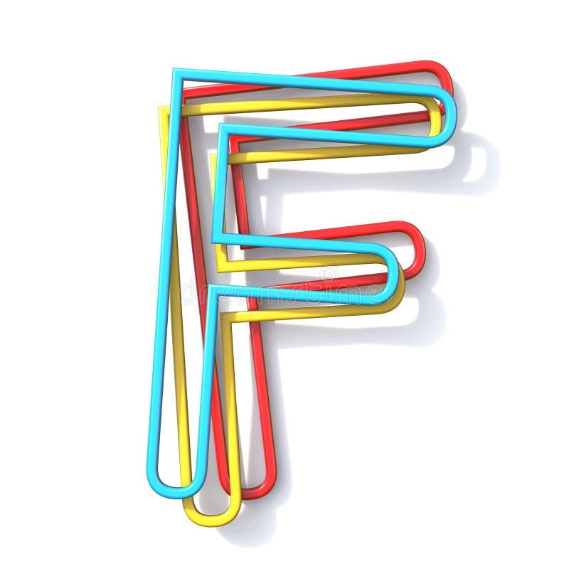 Lettre de base F 3D de police de fil de la couleur trois illustration libre de droits