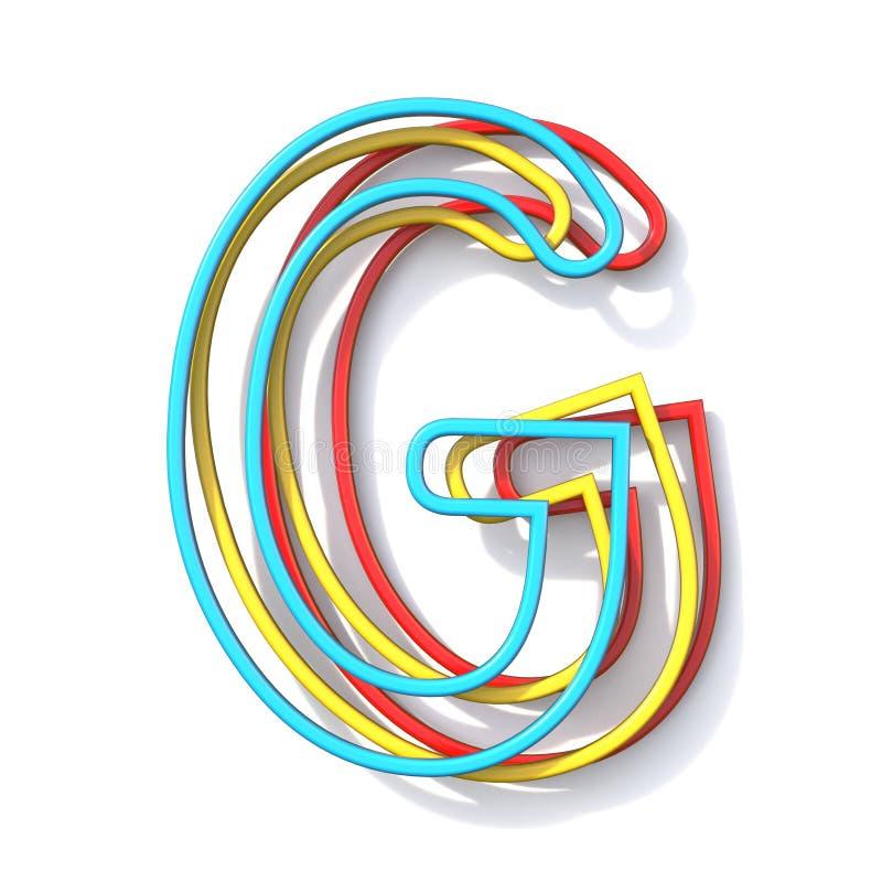 Lettre de base G 3D de police de fil de la couleur trois illustration stock