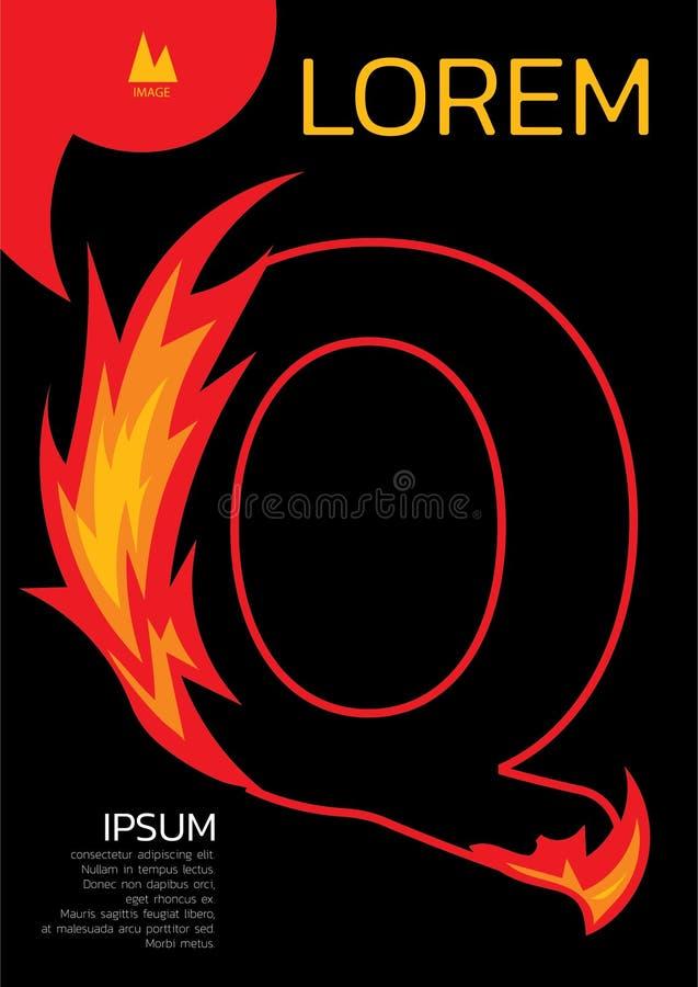 Lettre de calibre de Q photo et texte de l'espace illustration stock
