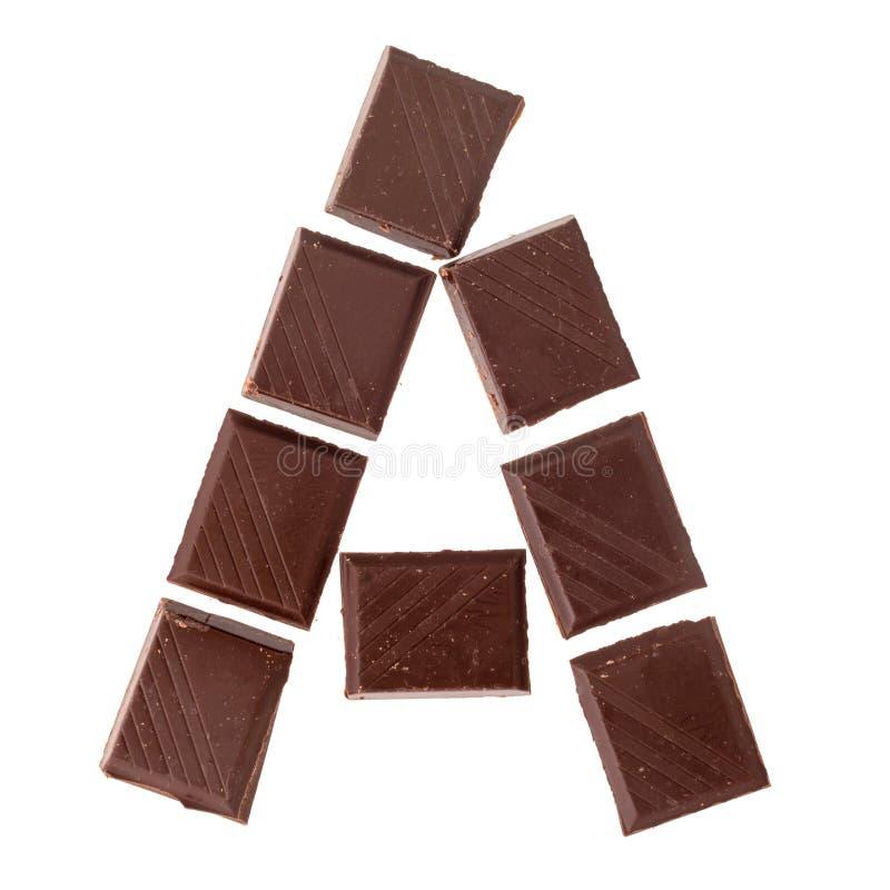 Lettre de chocolat d'isolat, alphabet photo libre de droits