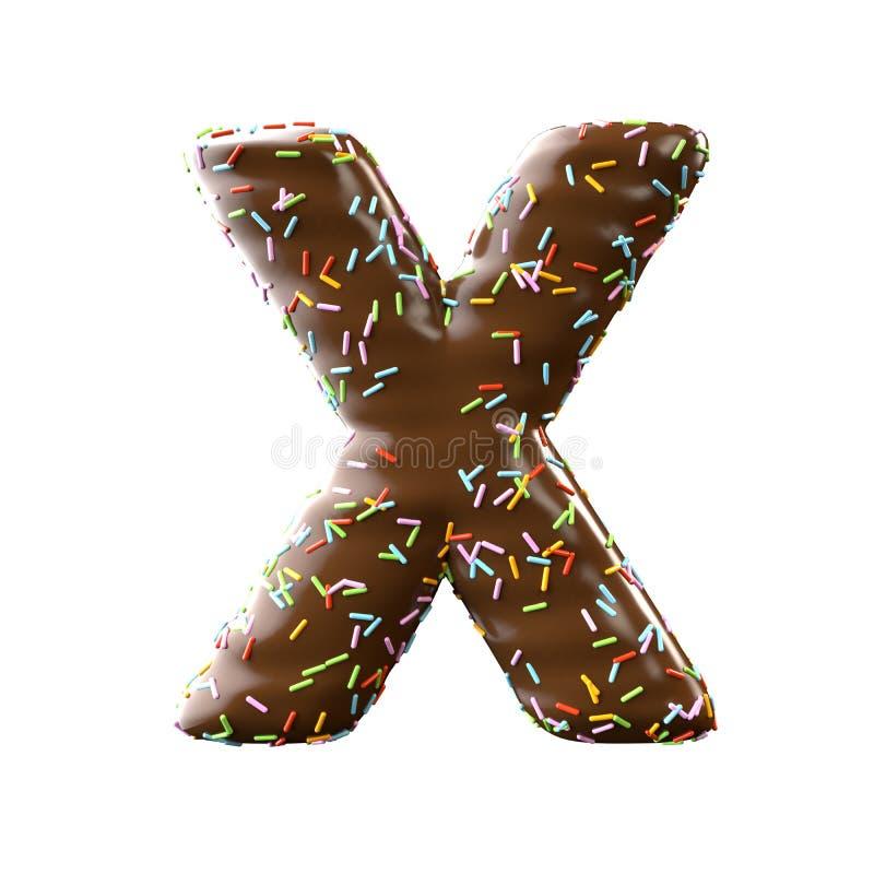Lettre X de chocolat d'isolement sur le fond blanc illustration de vecteur