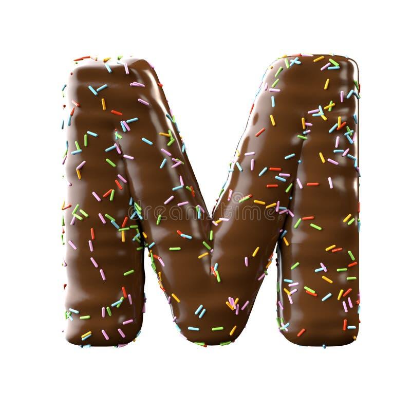 Lettre de chocolat M Isolated sur le fond blanc illustration libre de droits